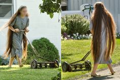 I don't know who this might be as she mows the grass. Most of such girls would wear a covering. But the hair is long (1 Corinthians 11:14-15).