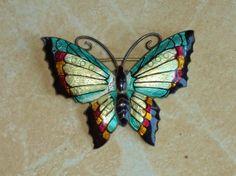 Colourful enamel sterling silver butterfly brooch