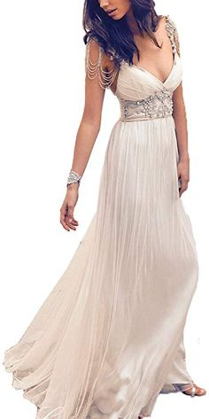 a8dcc24957d5 Fashionbride Open Back V Neck Beaded Chiffon Beach Boho Wedding Dresses for  Women ED58 White-US8 at Amazon Women s Clothing store