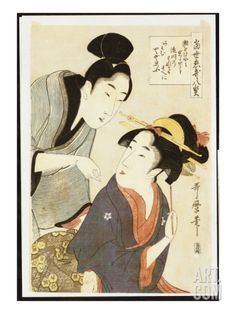 A Double Half-Length Portrait of a Beauty and Her Admirer Giclee Print by Kitagawa Utamaro at Art.com