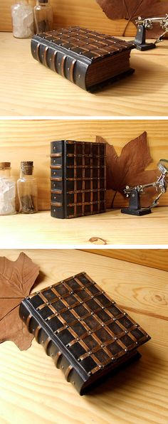 I designed this very special book as an art object. It is the perfect size to be hold in your hands. It recalls a passage gate, a magic box, a well kept secret. It is finely worked in every detail. The covers are made of old dark brown leather that I dyed, patinated and then sanded myself. The covers are covered in latticework that gives it a precious ancient aspect. This is made of fine copper strips and copper brads at intersections. The spine was designed to resemble that of an old b...