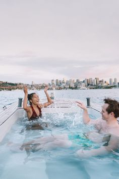 Explore Lake Union in a hot tub boat! Enjoy the sunset with the view of Downtown Seattle, Gas Works Park, and the HW 99 Bridge. The best hot tub in Seattle. Warm Showers, Fun Outdoor Activities, Olympic Mountains, Lake Union, Adventure Map, Downtown Seattle, City That Never Sleeps, Paddle Boarding, Beautiful Sunset