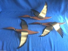 Vintage Mid Century Modern Wood 3 Flying Geese Ducks Wall Hanging Art Masketeers | eBay