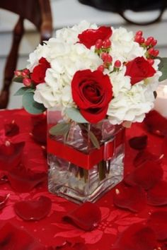 Red and White Centerpiece Flowers Julie Floyd Wedding Flowers for New Hampshire's Seacoast
