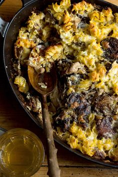A more sophisticated take on mac and cheese, this golden-topped casserole has roasted wild mushrooms for a deep, earthy character, and melted fontina for the gooey factor. (Photo: Andrew Scrivani for The New York Times)
