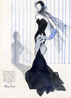 Evening gown by Maggy Rouff illustrated by René Gruau, 1947