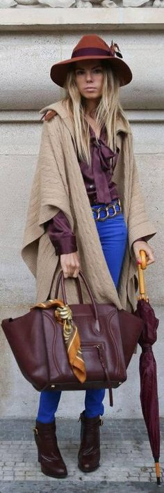 On top of that fabulous hat, that Céline bag is to die for. Fall Fashion 2014