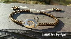 CLEARANCE 50%OFF....Pretty Bronze And Rose Gold Heart Friendship Bracelet with Ivory Satin Cords .... Boho ,Friendship Bracelet,Rose Gold by MilliMooDesigns on Etsy