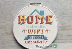 """modern cross stitch pattern """"Home is where the wifi connects automatically"""" quote, PDF  ** instant download**"""