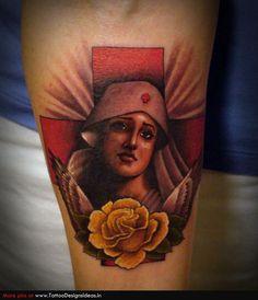 Vintage nurse + yellow rose tattoo