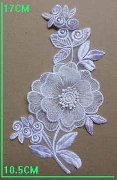 """2 Lace Appliques, 3D Floral, White Bridal Flower Appliques, Headand, Wedding Garter, 17 x 10.5 cm, 6.75"""" x  4"""""""