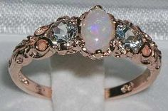 ROSE GOLD NATURAL FIERY OPAL & ICE BLUE AQUAMARINE RING