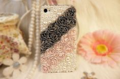 For-Various-Mobile-Phone-Lovely-Bling-Pearls-Gilry-Lace-Floral-Rose-Crystal-Case
