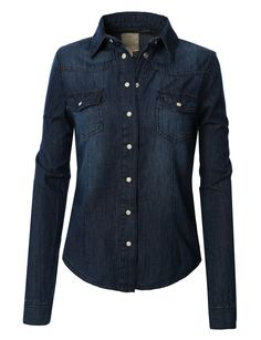 f6cdf9f4 LE3NO Womens Vintage Button Down Denim Shirt with Front Pockets Vintage  Shirts, Vintage Buttons,