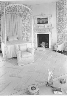 Mrs. Celia Tobin Clark's bedroom (c. 1929-31) decorated by Syrie Maugham. Carpet by Marion Dorn.