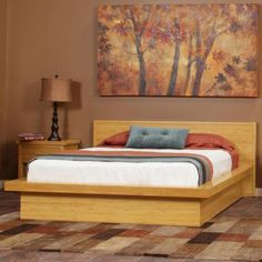 Nice Minimalist Bedroom Design With Light Brown Wooden Queen Platform Bed On Classic Carpet As Well Lamp