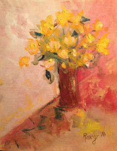 Country  Flowers  Original Oil Painting 5 x 7 by RichNovelties