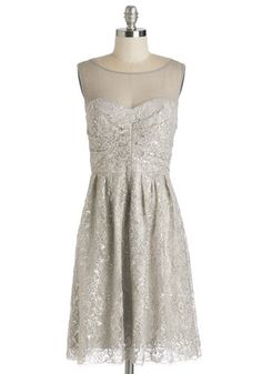 Decode 1.8 Frost and Found Dress - Silver, Solid, Lace, Glitter, Wedding, Party, Holiday Party, A-line, Sleeveless, Sheer, Woven, Bride, Mid-length, Prom, Homecoming