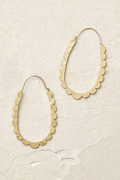 Celeste Scalloped Hoop Earrings in gold. cute, cute cutehh