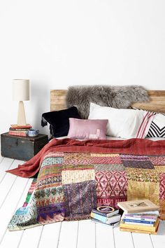 One-Of-A-Kind Silky Kantha Quilt  - Urban Outfitters