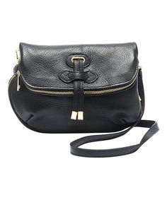 Look what I found on #zulily! Black Fold-Over Leather Crossbody Bag #zulilyfinds