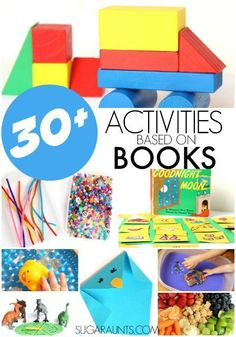 Book extension activities for kids, including crafts, sensory play, snacks, games, and more book enrichment ideas for popular children's books.