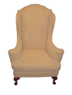 Georgian Wing Chair with flower arms in ivory crushed velvet
