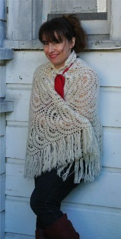 Crochet Shawl as Cape...I think this was meant to be a lap blanket...would love to figure out the pattern!!