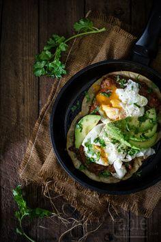 huevos rancheros with frijoles refritos
