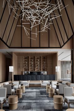 Photos and Videos 13 of 32 from project Jinan Bocuishan Sales Center Hotel Lobby Design, Lounge Design, Chair Design, Interior Modern, Home Design, Design Design, Hotel Ceiling, Resort Interior, Hotel Lounge