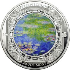2015 Cook Islands 25 gr $20 silver coin - Masterpieces of Art: Claude Monet's Water Lillies (colorized and Swarovski crystals).