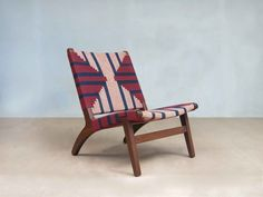 This exquisitely styled all solid hardwood Mid-Century Modern inspired lounge chair features a hand woven pattern of Nicaragua's Momotombo Volcano. Handmade.