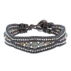 Labradorite and Natural Grey Leather Cuff Bracelet - Chan Luu