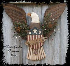 Primitive Americana Eagle Hanger with Flag Shield E-Pattern $8.00