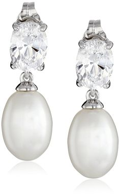 Platinum-Plated Sterling Silver Earrings with Cubic Zirconia and Freshwater Cultured Pearl Oval Drop: Platinum-plated sterling silver earrings featuring oval cubic zirconia stud with oval cultured pearl drop Friction-back findings Imported Platinum Earrings, 18k Gold Earrings, Baby Earrings, Aquamarine Earrings, Diamond Drop Earrings, Girls Earrings, Crystal Earrings, Sterling Silver Earrings, Silver Jewelry