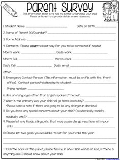 Free back to school forms to send home to parents in the beginning of the year
