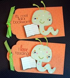 Worm bookmarks.  Brenda's Scrappy Blog: Fantabulous Cricut Challenge #17 - creepy crawlers!