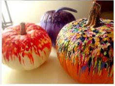 Melted Crayon Pumpkins halloween halloween party halloween decorations halloween crafts halloween ideas diy halloween halloween pumpkins halloween party decor pumpkin ideas