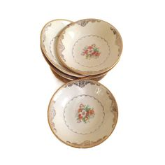 Vintage Paden City Pottery berry or sauce bowls Fruit or dessert bowl Discontinued pattern # PCP 131 Gold scrolls with center floral spray