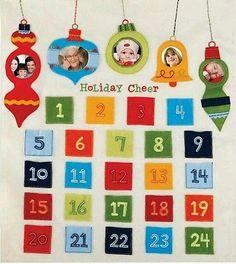"NIB Kids Felt Photo Advent Calendar Jill McDonald 24 Treat Pockets 22""× 26"""