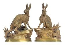 A PAIR OF FRENCH GILT-BRONZE FIGURES OF RABBITS, sold at Christies for 15,000 USD against a pre auction estimate of 2-3