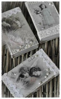 Vintage Boxes ~ decorated with vintage photos. Embellish with pearls, lace trim & rhinestones. Shabby Chic Crafts, Vintage Crafts, Vintage Shabby Chic, Vintage Theme, Vintage Stil, Altered Tins, Altered Bottles, Altered Art, Matchbox Crafts