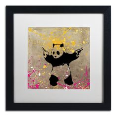 Panda with Guns by Banksy Framed Graphic Art in White