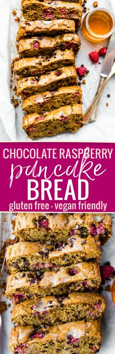 """AGluten FreeChocolate Raspberry Pancake Bread recipe that's greatfor brunch or breakfast. It's simple to make with wholesome ingredients. An allergy friendly and vegan friendly """"quick"""" pancake bread recipe with the just the rightfruit and chocolate combo. Freezer friendly too! www.cottercrunch.com"""