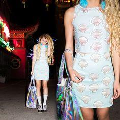 Dominique N. - Omighty Mermaid Shell Top, Omighty Mermaid Shell Skirt, Omighty Smells Like Holographic Tote, Crackbaby Fiji Water Socks, Yru...
