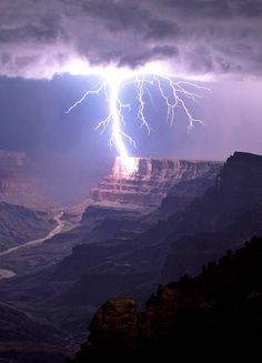 Lightning striking the Grand Canyon.  Travis Roe.