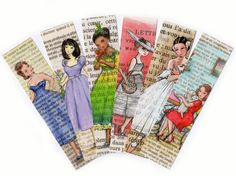 #Paris #Bookmarks  #Femmes de Paris  Set of 6 by #CastleOnTheHill, $9.50 #etsy #bookworm #reading #bookaddict #French