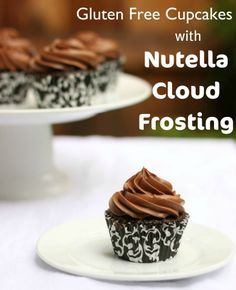 Gluten Free Chocolate Cupcakes with Nutella Cloud Frosting.anything with nutella isn't strict Paleo. Nutella Cupcakes, Gluten Free Chocolate Cupcakes, Nutella Frosting, Gluten Free Sweets, Gluten Free Cakes, Gluten Free Baking, Paleo Cupcakes, Cloud Frosting, Cupcake Frosting