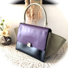 Tricolor hand bag, Purple Black Taupe leather tote, Hand made leather bag, Genuine leather bag, Women leather purse, Leather satchel tote