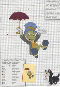 Jiminy Cricket cross stitch